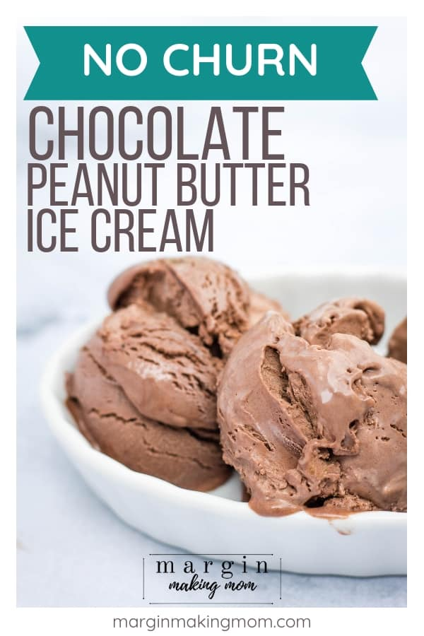 scoops of chocolate peanut butter ice cream that were made without an ice cream maker