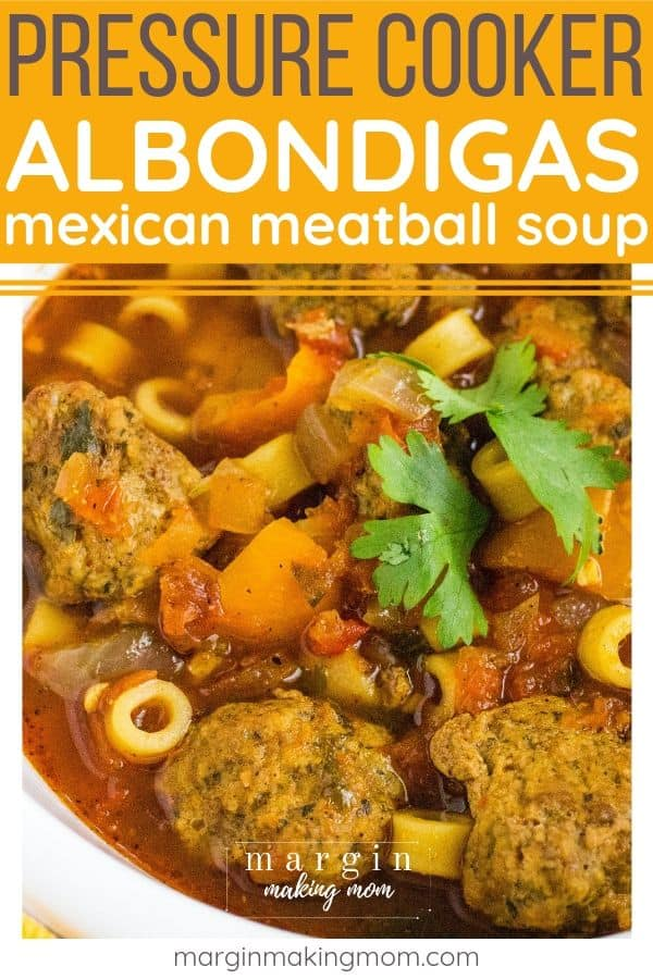 albondigas Mexican meatball soup that was cooked in a pressure cooker