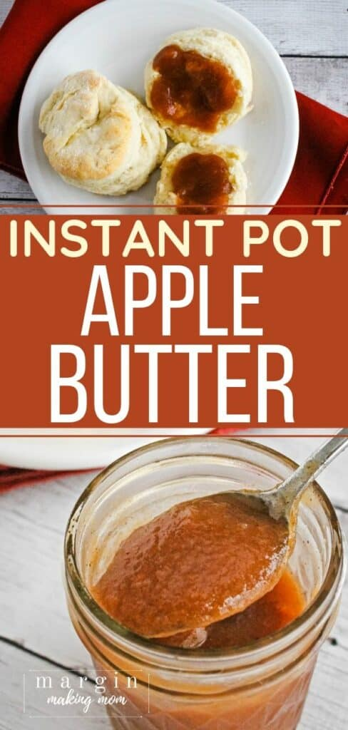 jar of Instant Pot apple butter and a biscuit with apple butter on it