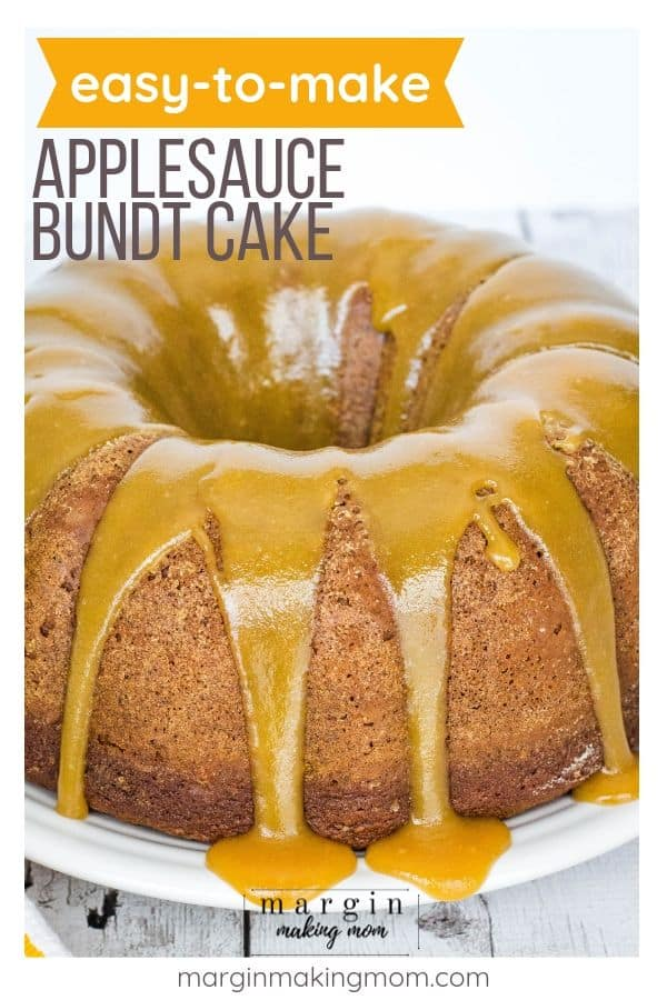 applesauce bundt cake with caramel sauce glaze on a white plate