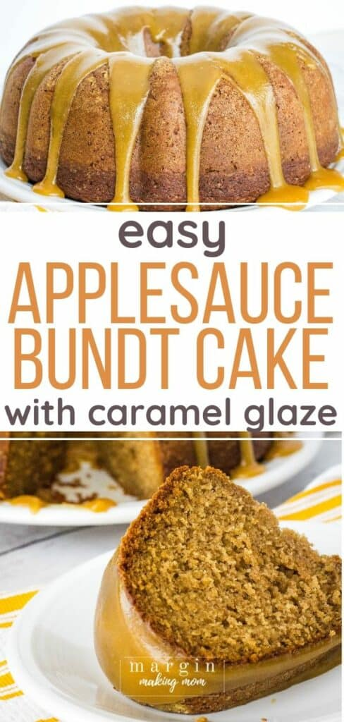caramel apple bundt cake on a white plate