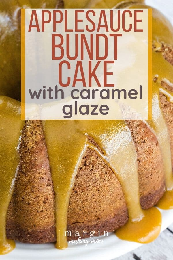 Applesauce bundt cake topped with caramel sauce
