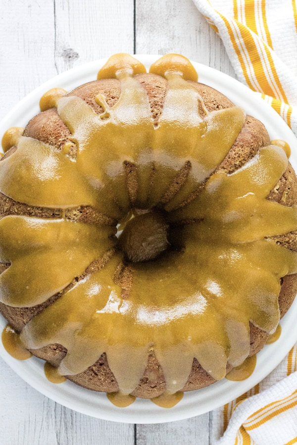 apple cake glazed with caramel sauce