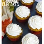 easy pumpkin cupcakes topped with boiled milk frosting