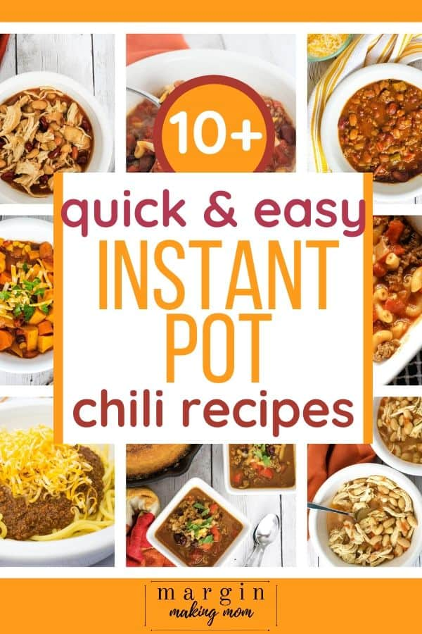 Collage of photos of various types of Instant Pot chili recipes