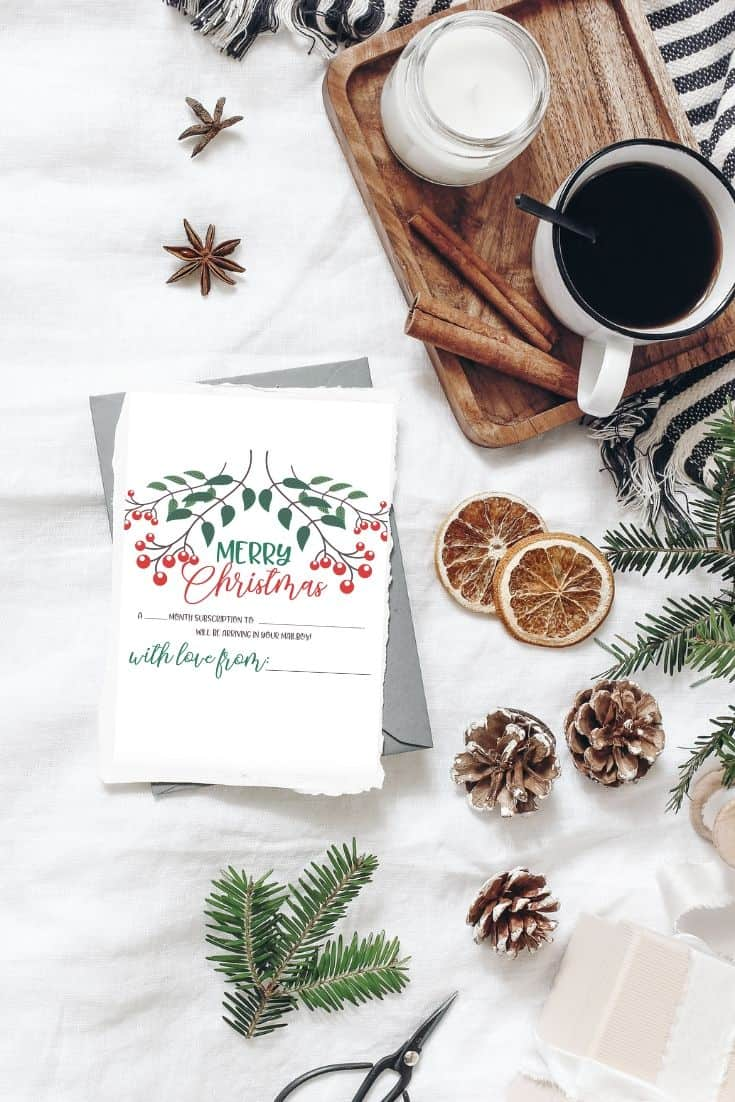 printable christmas gift letter for a subscription box