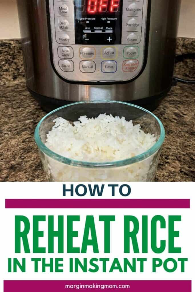 Bowl of white rice in front of an Instant Pot, demonstrating that you can reheat rice in the Instant Pot