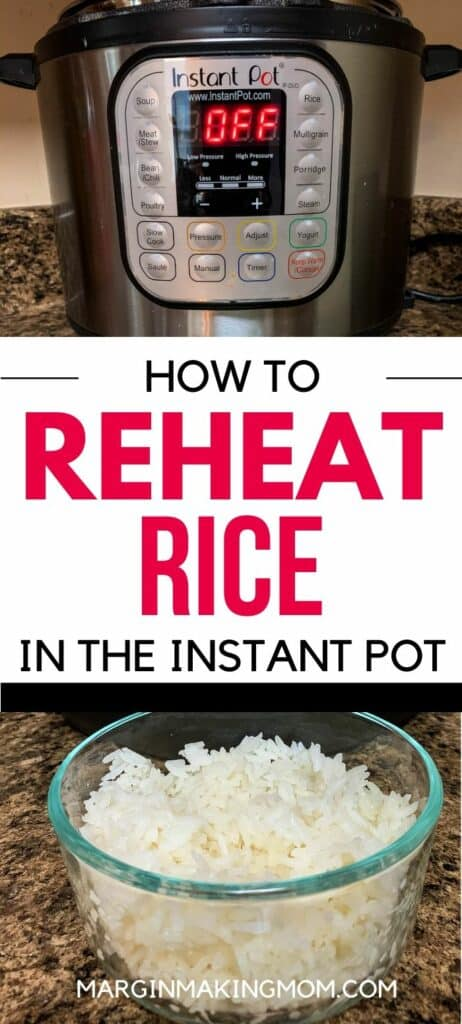 Glass bowl of white rice and an Instant Pot pressure cooker