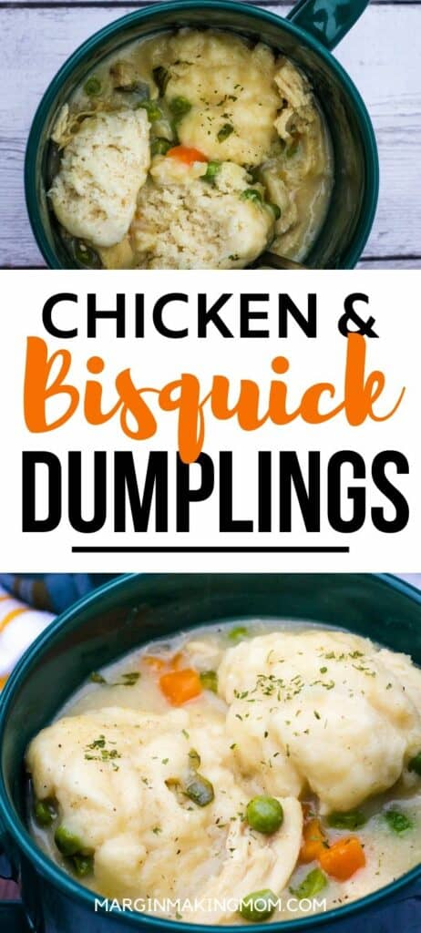 Green bowls filled with chicken and dumplings made with Bisquick