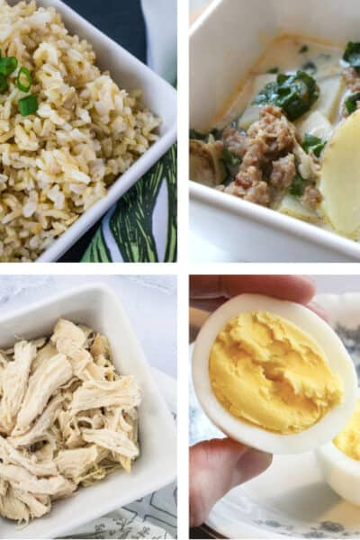 collage image of recipes that are good for Instant Pot beginners