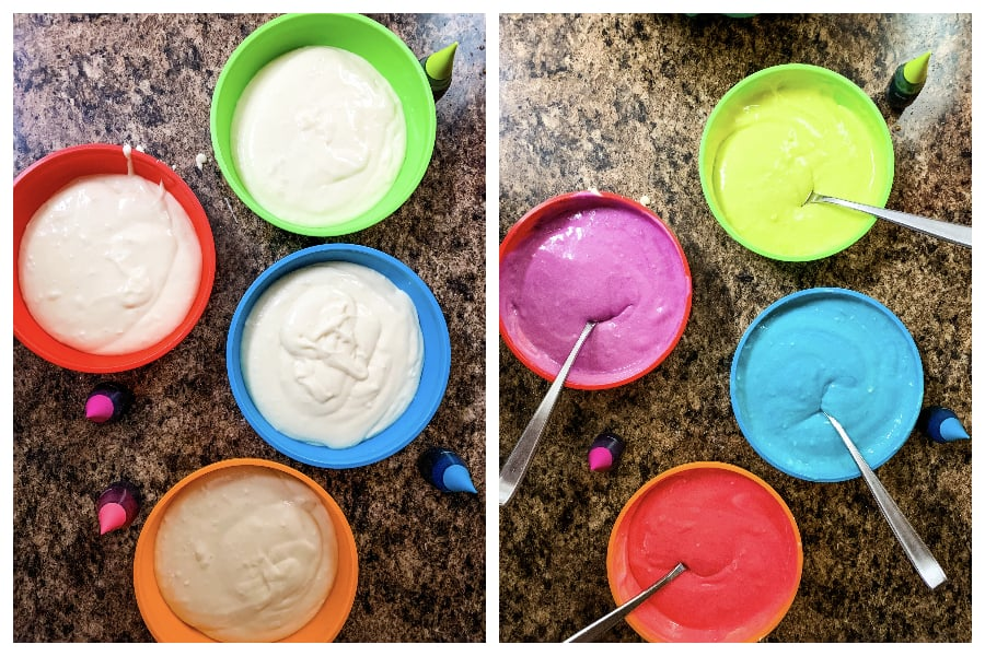 Cake batter divided into four bowls in order to mix food coloring into the batter
