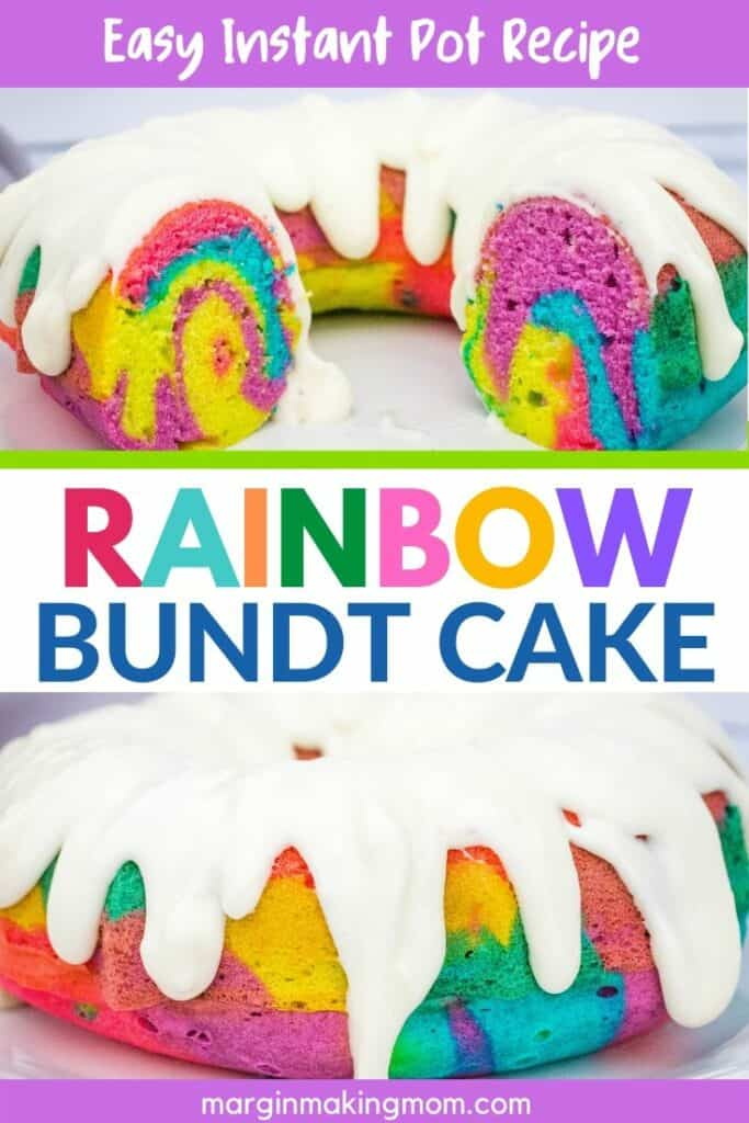 Instant Pot bundt cake with colorful swirls and white icing