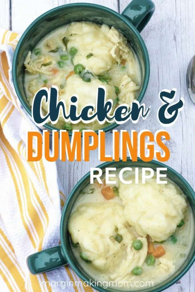 Two soup mugs filled with chicken and dumplings made with Bisquick