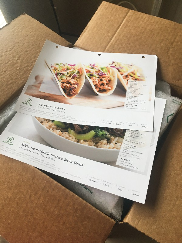 Home Chef box with recipe cards