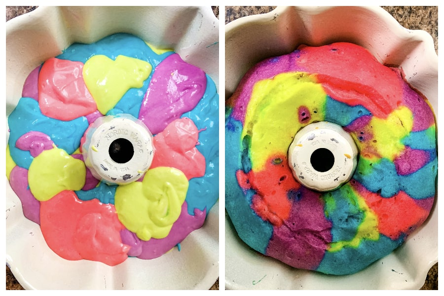 bundt pan with colorful batter in it