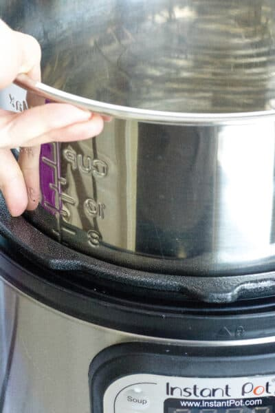 An insert pot being lifted from an Instant Pot