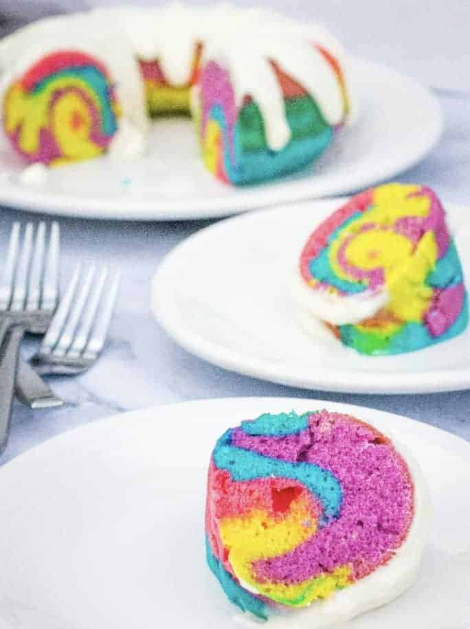 Instant Pot Rainbow Bundt Cake