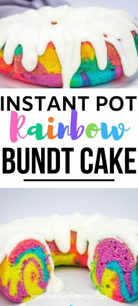 Colorful swirled rainbow bundt cake that was cooked in the Instant Pot, topped with cream cheese frosting