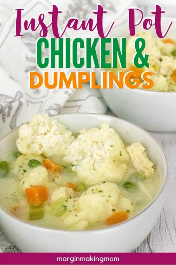 two white bowls filled with chicken and bisquick dumplings