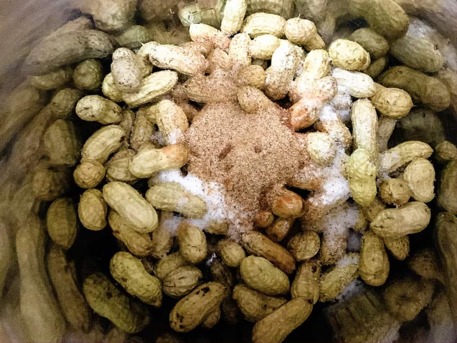 raw peanuts with sea salt, hot sauce, and Creole seasoning