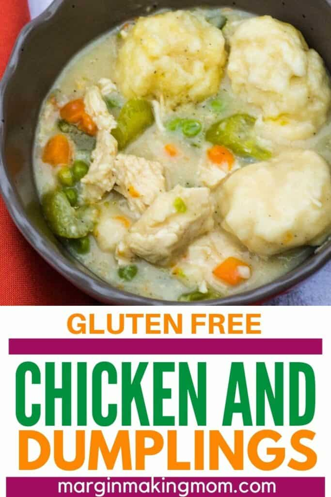 brown bowl of gluten free chicken and dumplings