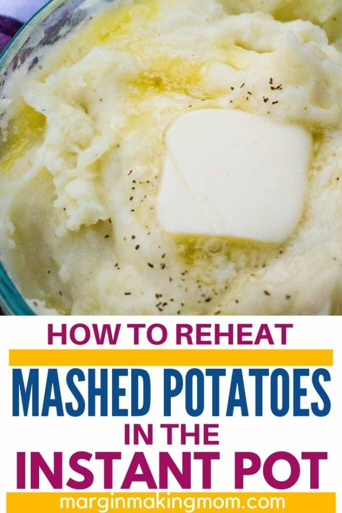 Pyrex dish of mashed potatoes with a pat of butter melting on top