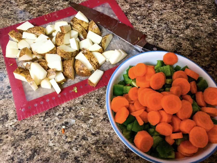 chopped vegetables for making hamburger potato soup