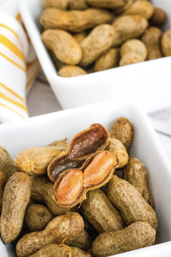 white bowl of boiled Cajun peanuts