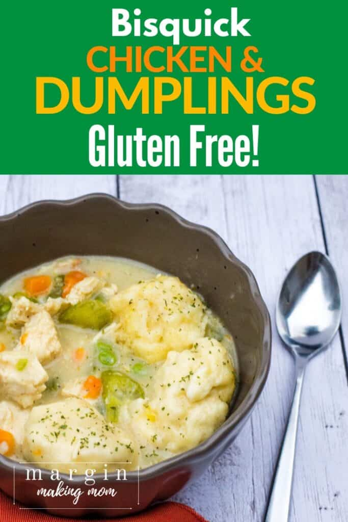 brown bowl of chicken and dumplings made with gluten free Bisquick