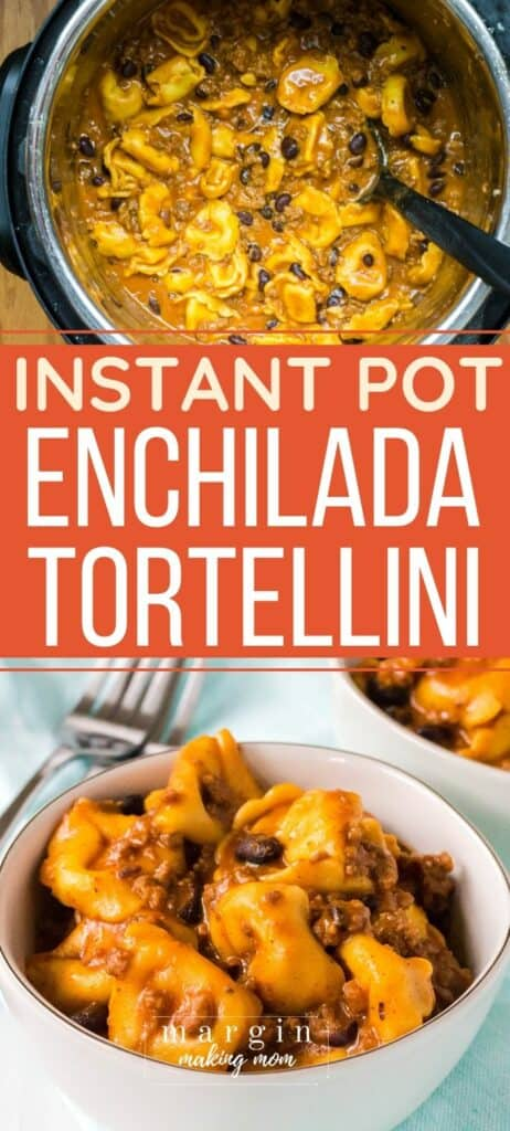 Instant Pot filled with enchilada tortellini and a white bowl with a serving of enchilada tortellini in it