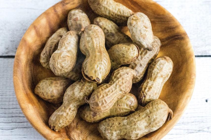 wooden dish of Hawaiian style boiled peanuts