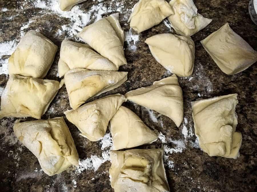 pieces of dough for homemade frozen dinner rolls