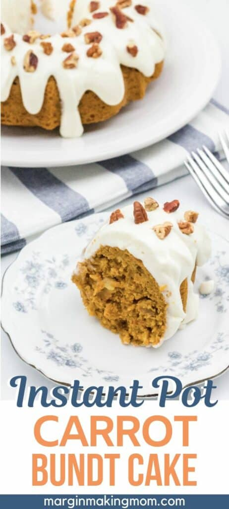 Slice of Instant Pot carrot cake on a white and blue china plate, with the remainder of the bundt cake in the background