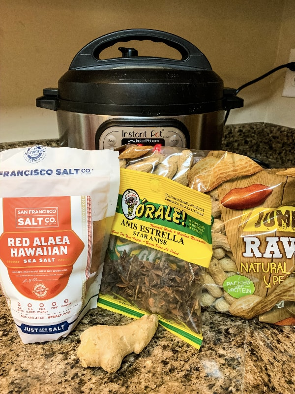 Ingredients for Hawaiian boiled peanuts arranged in front of an Instant Pot