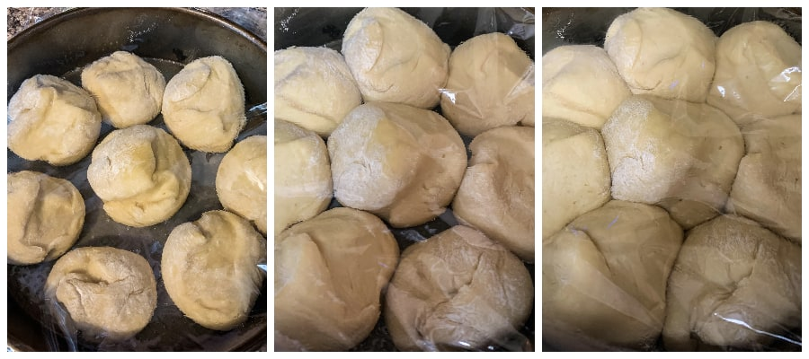 frozen dinner rolls thawing in a pan for baking