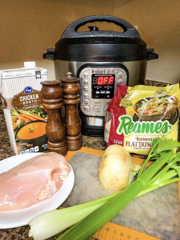 Reames frozen dumplings and other ingredients needed to make chicken and dumplings