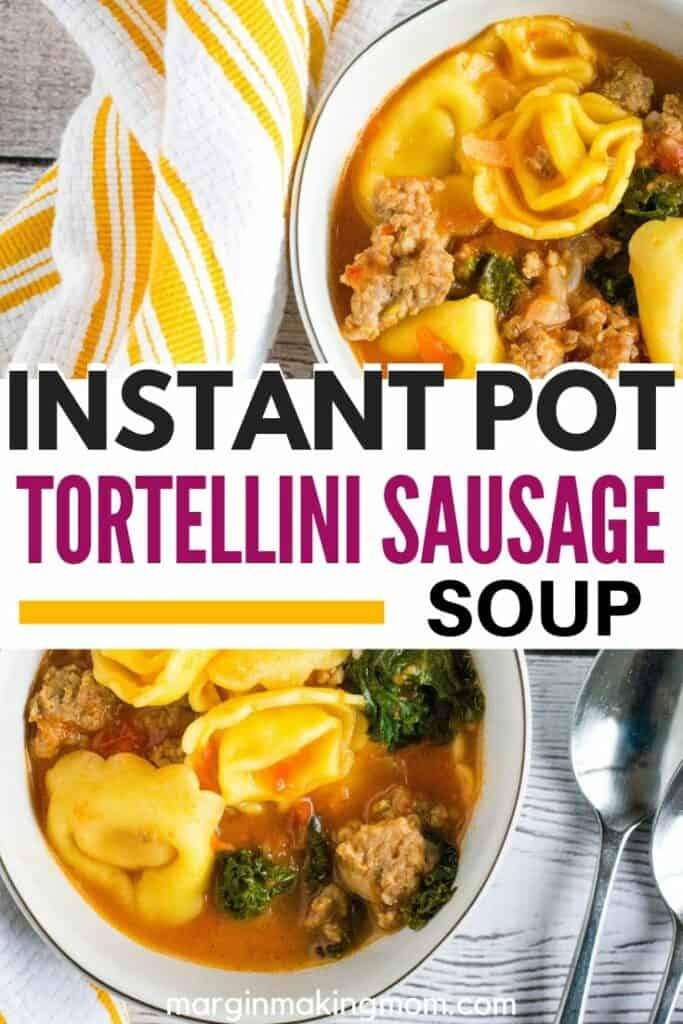two white bowls filled with Instant Pot tortellini and sausage soup