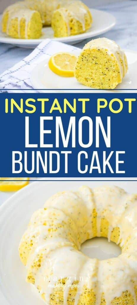 Instant Pot lemon poppy seed bundt cake on a white plate