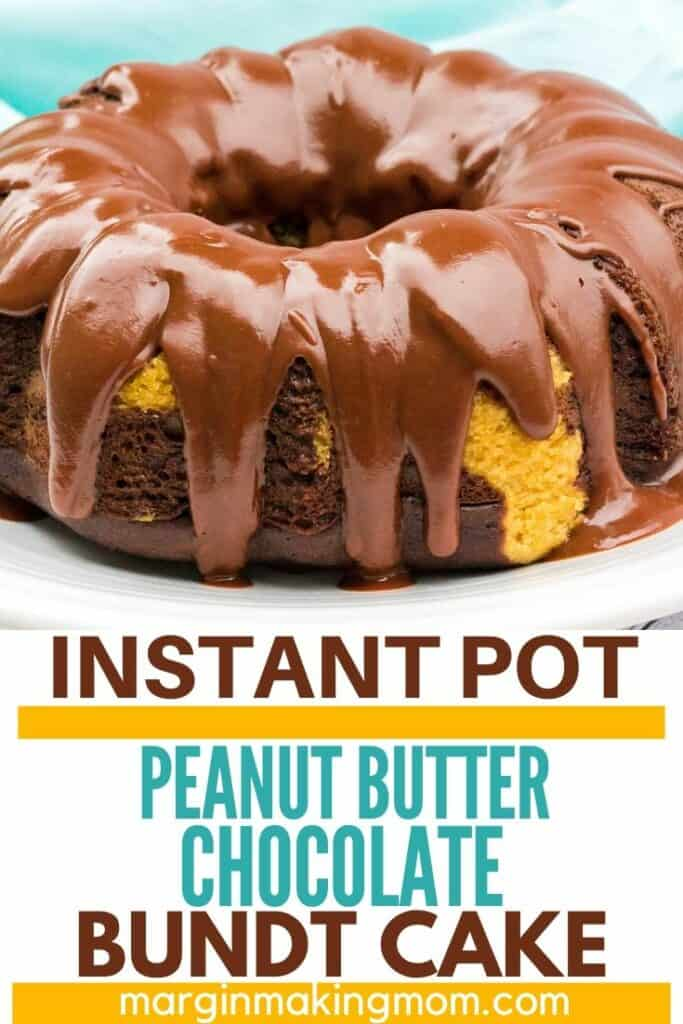 peanut butter chocolate bundt cake topped with chocolate glaze