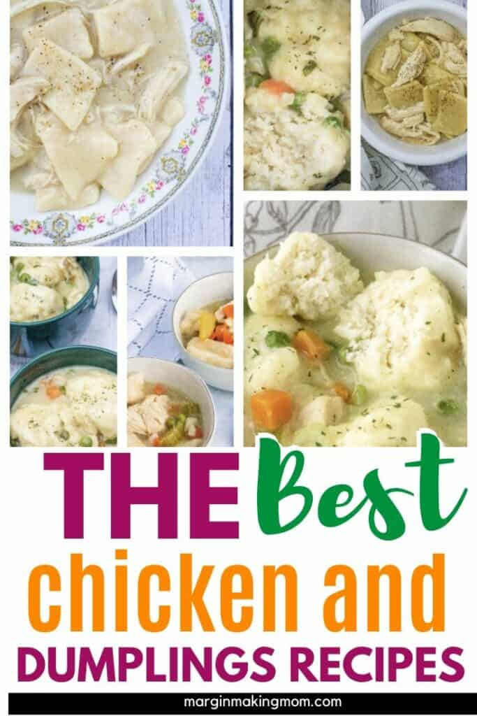 collage image of the best recipes for chicken and dumplings