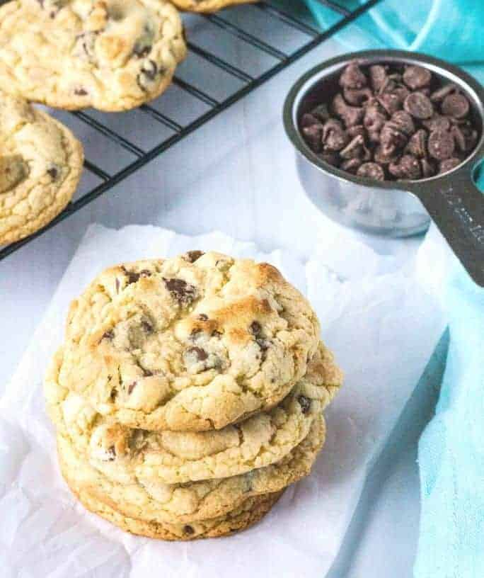 several chocolate chip cookies made with Bisquick stacked together