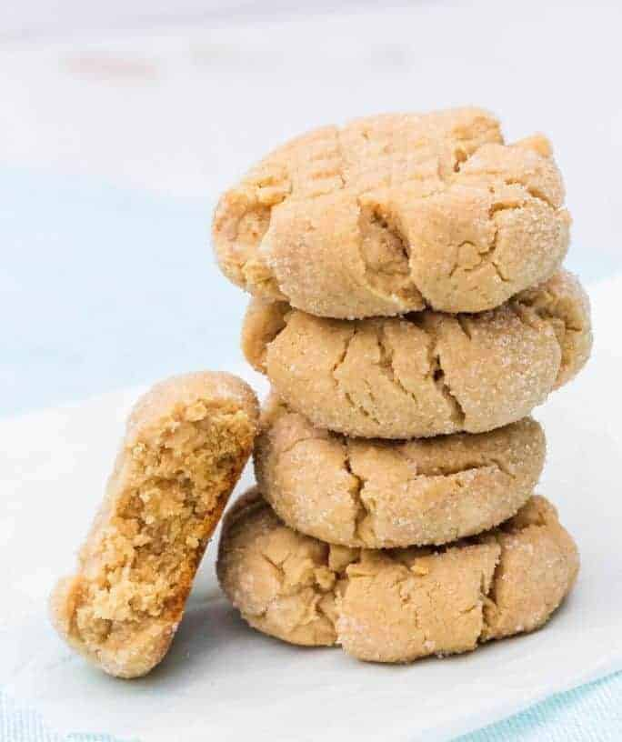stack of Bisquick peanut butter cookies, with a bite removed from one cookie