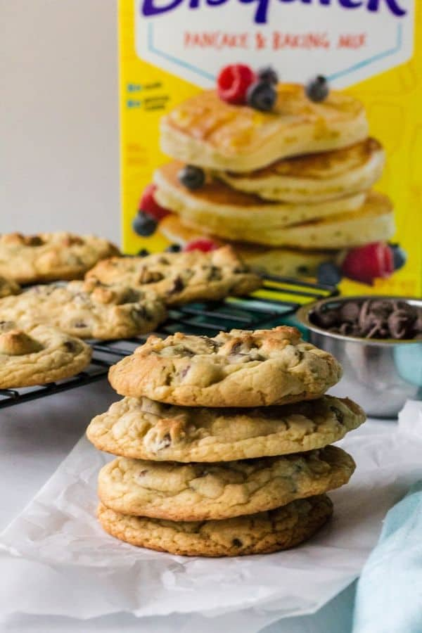 stack of chocolate chip cookies made with Bisquick pancake mix