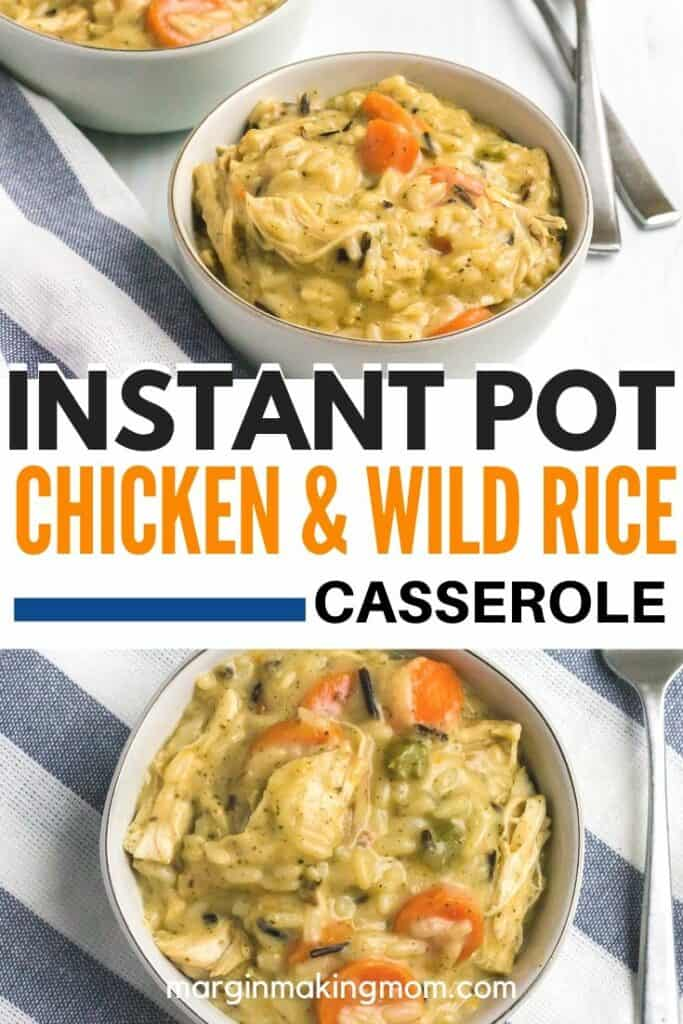 white bowl filled with creamy chicken and wild rice casserole