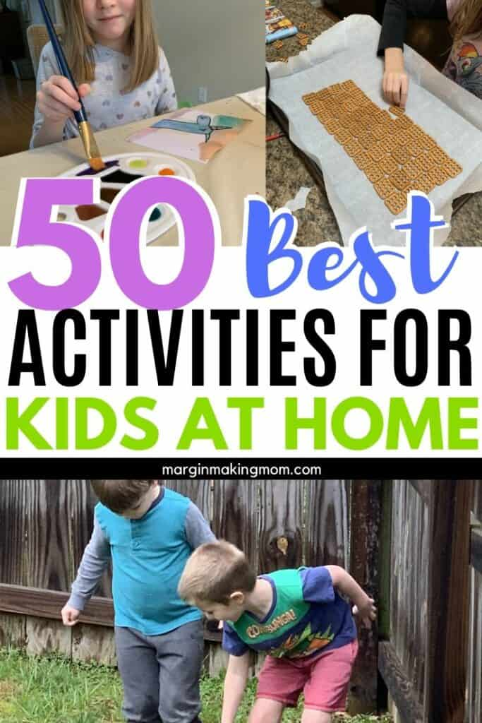 collage image of kids doing various activities at home