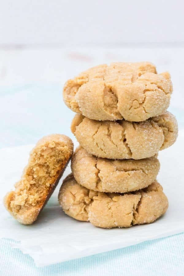 stack of pancake mix peanut butter cookies
