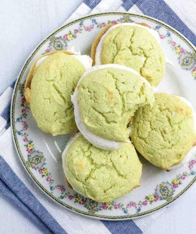 pistachio whoopie pies on a plate