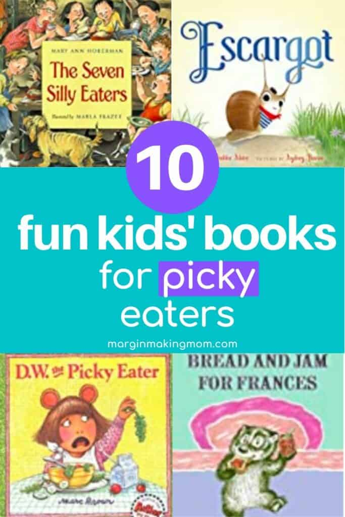 collage of kids' books for picky eaters