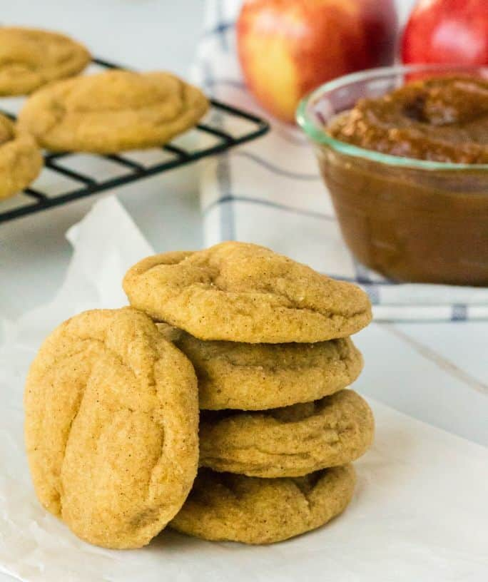 stack of apple butter snickerdoodle cookies