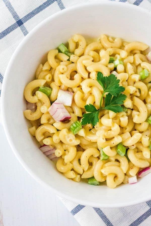 white bowl of Instant Pot macaroni salad